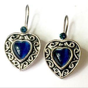 Royal Blue Heart Earrings Vintage